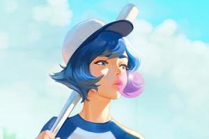 Girl Chewing Gum Art Wallpaper