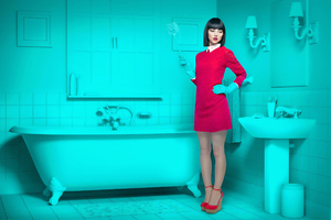 Girl Cleaning Tub Wallpaper