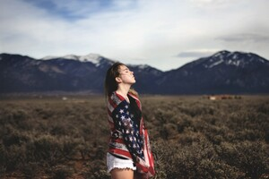 Girl Covering Herself With American Flag Wallpaper