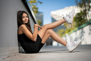 Girl Cute Smiling Athletic Shoes Wallpaper