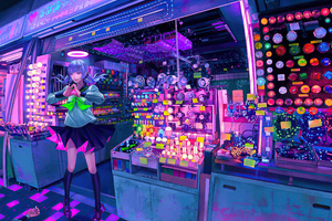 Girl Cyberpunk Shop 4k Wallpaper