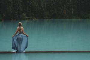 Girl Dress Lake Small Bridge Path Wallpaper