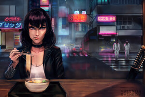 Girl Eating Noodles Moody Wallpaper