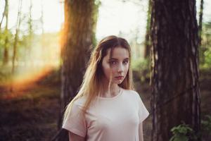 Girl Evening Forest Shoot 4k Wallpaper