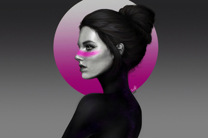 Girl Face Dark Portrait 4k
