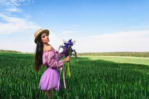 Girl Field Hat With Flowers Bokeh Wallpaper