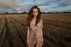 Girl Field Outdoor Wallpaper