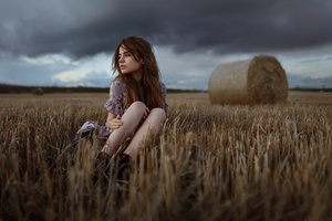 Girl Field Sitting Wallpaper