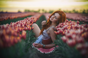 Girl Flower Bed 4k Wallpaper