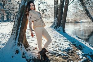 Girl Fur Jacket Winter 4k