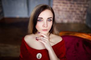 Girl Glowing Eyes Red Dress 5k Wallpaper