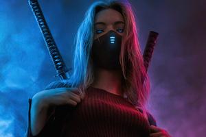 Girl Glowing Eyes Two Swords 4k Wallpaper