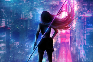 Girl Hair Flowing Neon City Wallpaper