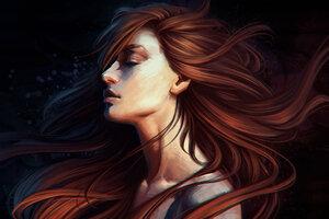 Girl Hair Portrait Digital Art 4k