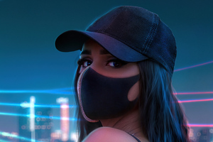 Girl Hat Neon Lights City Wallpaper