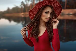 Girl Hat Red Sweater 4k Wallpaper