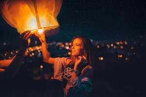 Girl Holding Paper Lantern