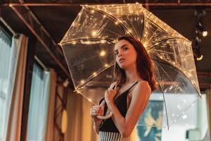 Girl Holding Umbrella 5k