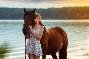 Girl Horse Ocean Side 4k Wallpaper