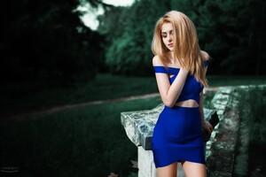 Girl In Blue Dress Wallpaper