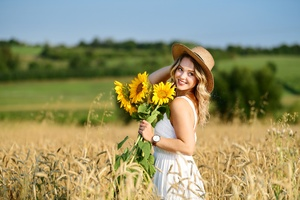 Girl In Field With Flowers Sunny Day 8k Wallpaper
