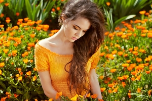 Girl In Flower Field 4k Wallpaper