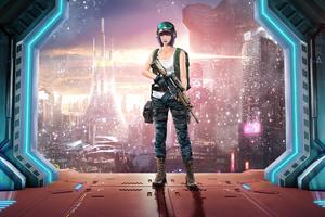 Girl In Future Wallpaper