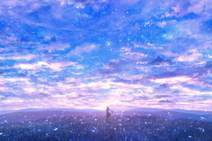 Girl In Lavender Field Alone Clouds 4k Wallpaper