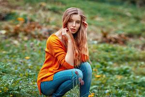 Girl In Orange Sweater Outdoor Wallpaper