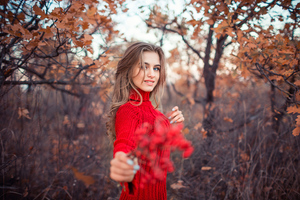 Girl In Red Dress Autumn 4k Wallpaper