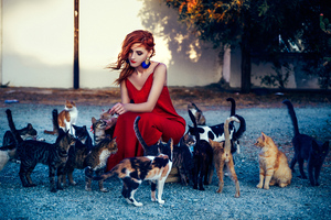 Girl In Red Dress Playing With Cats 4k