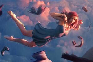 Girl In Sky Falling Headphones Wallpaper