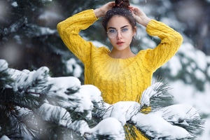 Girl In Snow Looking At Viewer