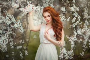 Girl In White Flowers 4k Wallpaper