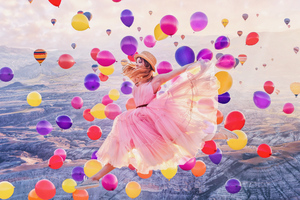 Girl Jumping Joy Balloons 4k