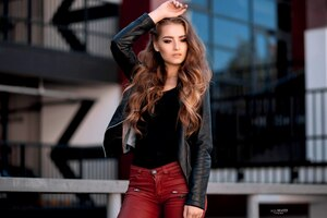 Girl Leather Jackets Outdoor Wallpaper