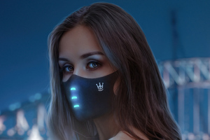 Girl Lightning Mask Looking Back 5k Wallpaper