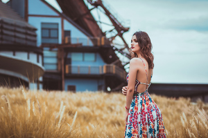 Girl Long Hair Outdoor Field 4k Wallpaper