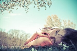 Girl Lying Grass Wallpaper