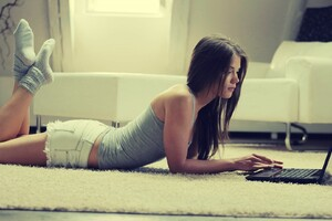 Girl Lying Laptop Wallpaper