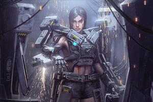 Girl Metal Cyborg Suit 4k Wallpaper