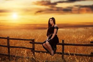 Girl Model Sunset Field Gold 4k Wallpaper