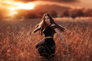 Girl Model Sunset Gold Field 4k Wallpaper