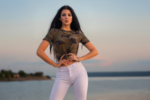 Girl Model White Jeans Looking At Viewer 4k