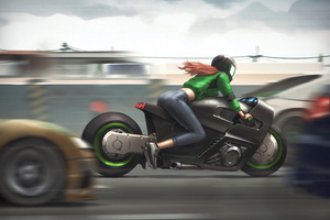 Girl On Bike 4k Art Wallpaper