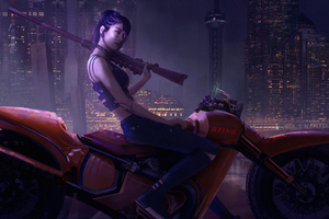 Girl On Bike Art