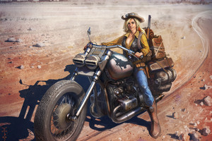 Girl On Bike Artwork Wallpaper