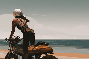 Girl On Bike Digital Art Wallpaper