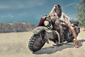 Girl On Desert Offroad Bike Wallpaper