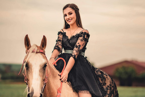 Girl On Horse Wallpaper